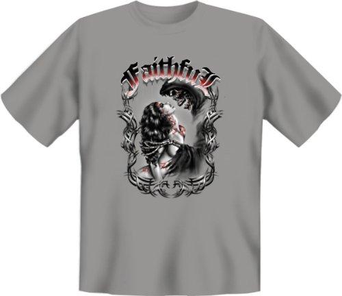 T-Shirt - Faithful - treu ergeben Tag der Toten Skellett Face Tattoo Skull Dia de Los Muertos Girl Gr. M : (Dia De Muertos Girl Kostüm)