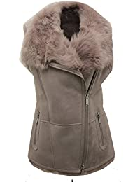 Women's Luxurious Short Grey Suede Toscana Fur Sheepskin Gilet
