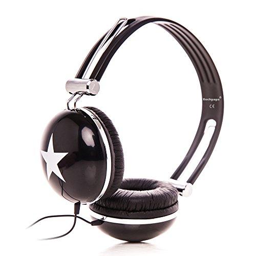 Rockpapa ov820s dj cuffie per bambini / adulti, regolabile, over-ear per smartphone, tablet, mp3/4, dvd, ipod, ipad, iphone nero