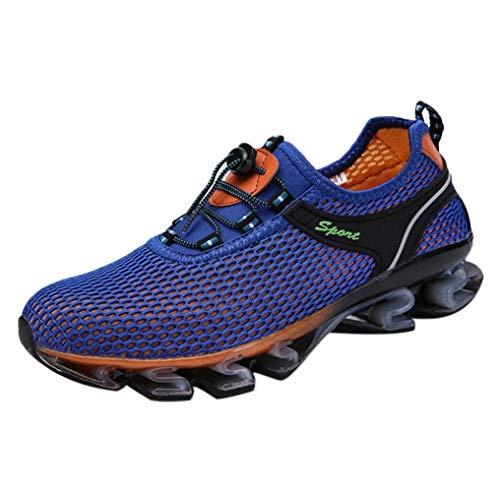 Baskets montantes pour hommes, chaussures à coussin d'air,Sneaker de marche athlétique en maille légère pour hommes glisser sur des chaussures de sport en plein air (42, Bleu)