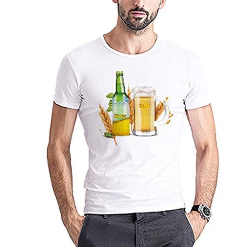 Chejarirty Herren 3D T-Shirt Bayerische Bierfest Junge Kurze Ärmel Männer Oktoberfest Kostüm Funshirt Bier Bedruckt Oberteile Comfort Bluse Sweatshirt Sommer Lässige Wiesn Tees (L, Weiß) (Kindes Holzfäller Kostüm)
