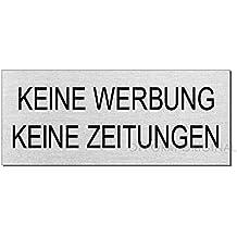 Türschild Aluminium keine Werbung Edelstahllook 60 x 20  mm
