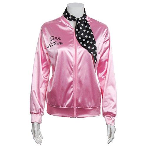 Nofonda Halloween Kostüm, Ladies Pink schicke Jacke 50er 60er 70er Jahre Damen Kostüm, Pink Jacke aus Satin mit Polka Dots Schal, Party Rock n Roll