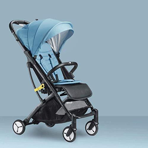 El Cochecito Se Puede Sentar Reclinable Shock Cuatro Ruedas Ultra Ligero Portátil Plegable Viaje Recién Nacido Bebé Niño Cochecito(Color: Azul)