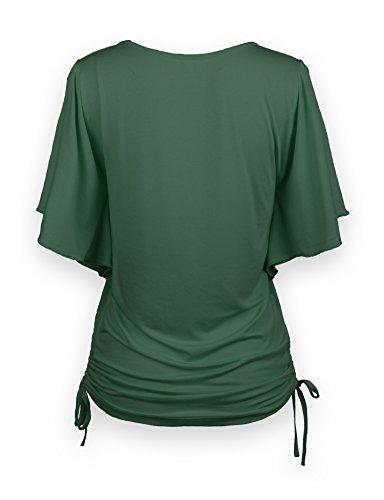 ReliBeauty Damen Rundausschnitt T-Shirt Kurzarm Volant Falten Verstellbare Bände Tunika Tops Grün