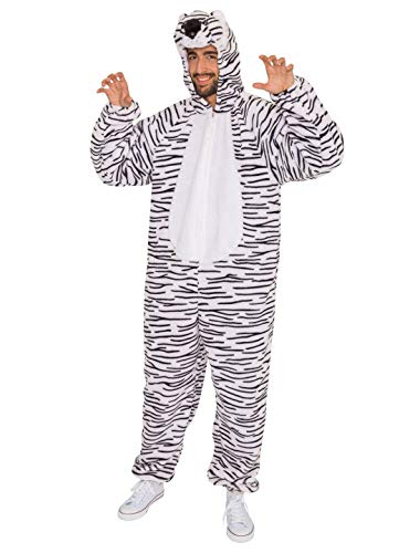 Weißen Kostüm Plüsch Tiger - Deiters Overall Plüsch Tiger Herren weiß 56/58