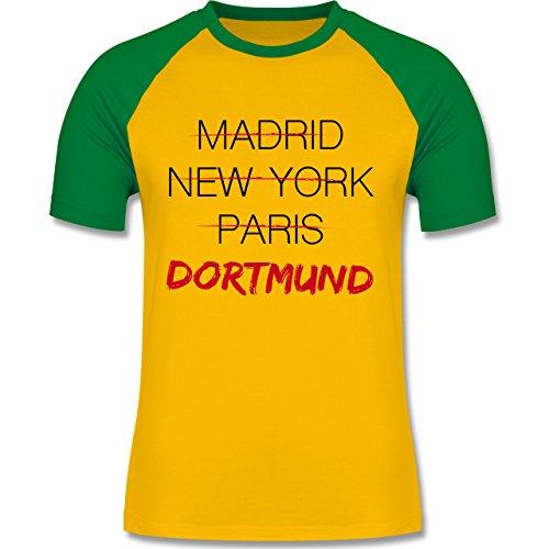 Städte - Weltstadt Dortmund - zweifarbiges Baseballshirt für Männer Gelb/Grün