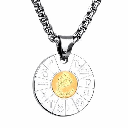 COPAUL Schmuck Edelstahl Tierkreis Sternzeichen Krebs Anhänger Kette Halskette für Herren Damen, Gold Silber