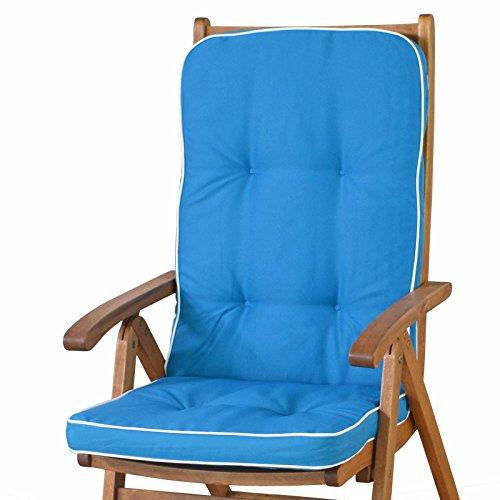 2 Auflagen für Hochlehner Sessel Sun Garden Tomiro 50077-131 blau weiß ohne Sessel