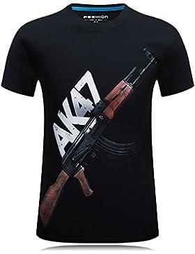 TheresaWFlory Camiseta de Verano de Manga Corta de Impresión 3D Deportes creativos al Aire Libre Ropa de AK-...