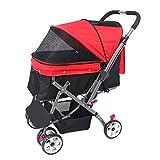 Wooce Passeggino per Cani, Pieghevole Pet Trolley Carrelli per Gatti Cani, 4 Ruote per Viaggio Installazione One-Click (Rosso)