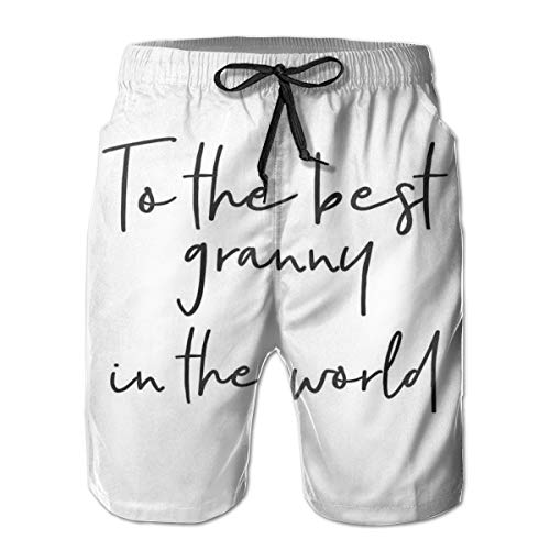 Men Swim Trunks Beach Shorts,Brush Calligraphy Hand Drawn Quote The Best Granny In The World Monochrome Design XXL -