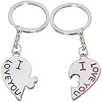 """Dosige 1 Paar Legierung Schlüsselanhänger Herz Paar Paare Keychain Schlüsselring für Paar - """"I LOVE YOU"""""""
