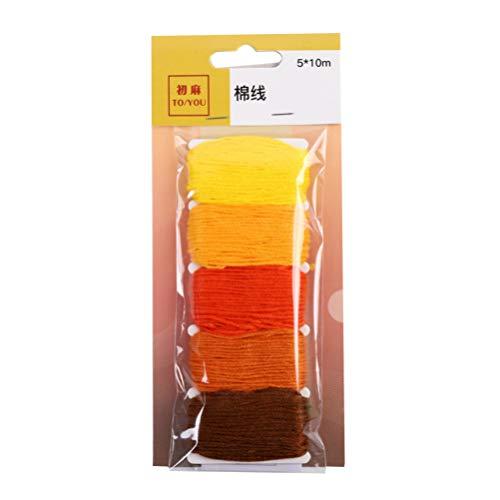 Healifty Stickgarn Farbe mit Farbverlauf Kreuzstichfaden manuelle DIY liefert Baumwollfaden Nähzubehör (gelb) -