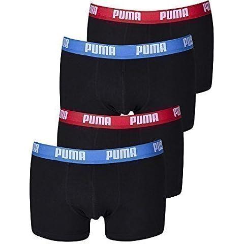 Puma Hombre Boxer corto Básico Calzoncillos 4 Paquete en varios colores 521025001 - rojo/azul/negro (505), L