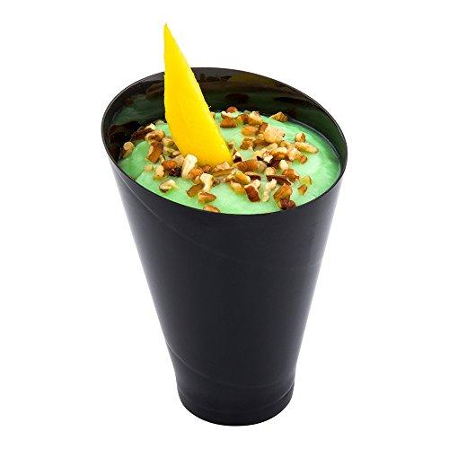(Black Plastic Incline Cup - Incline Glass - Dessert Cup, Fruit Cup - 6.5 oz - 100ct Box - Restaurantware)