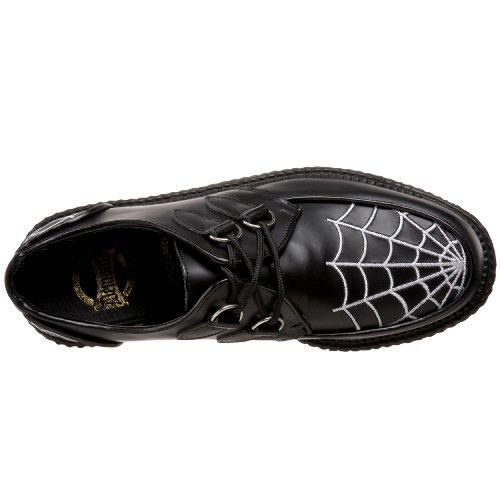 5,1cm P/F gothique Rockabilly Embroidere WHT Spider Web Creeper Noir/cuir