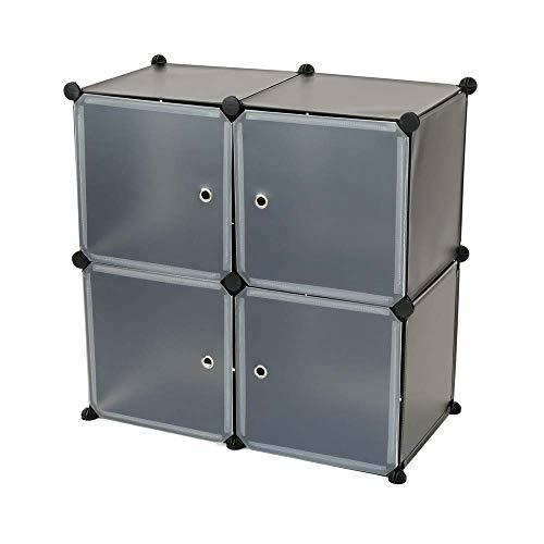 PrimeMatik - Armario Organizador Modular Estanterías de 4 Cubos de 35x35cm plástico Negro con Puertas