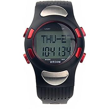 PIXNOR 1005 Reloj Digital Contador de Calorias, Pulsómetro, Podómetro, Todo en Uno (rojo)