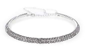 Gorgeous 2 Row Crystal Diamante Choker Wedding Necklace