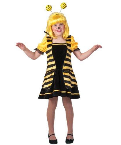 Biene Größe Kostüme Kind (Kostüm Biene Silvetta Kind Größe 140 Kinderkostüm Mädchen Tierkostüm Kleid Gelb Schwarz Gestreift Tiere Insekten Karneval Fasching)