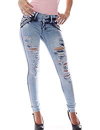 FARINA®1609 Denim pantalones rotos, vaqueros de mujer, Push up/Levanta cola, pantalones vaqueros elasticos colombian,color azul ,talla 34-48/XS-3XL
