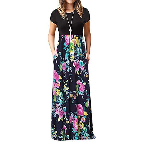 TIFIY Sommerkleid Damen,Elegante Casual Ärmel Oansatz Druck Maxi Blumen Langes Kleid Boho Strand Partykleider Hemdkleider (A_ i,XXXL