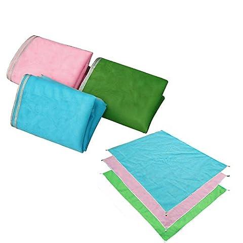 Lugii Cube Portable gratuit de sable de plage Tapis de couverture de pique-nique anti-inondation sans la saleté et la poussière disparaître Magic Tapis de plage pour randonnée Camping, bleu