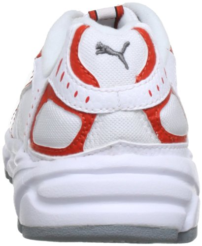Puma  Xenon Trainer Jr, Chaussures de running mixte enfant Blanc - Weiß (white-puma red-aged silver 15)