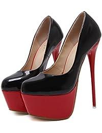 Mujeres Extreme Sexy Shallow Plataforma Cerrada Stiletto High Heels Ladies Señalado A Los Zapatos Club Wedding...