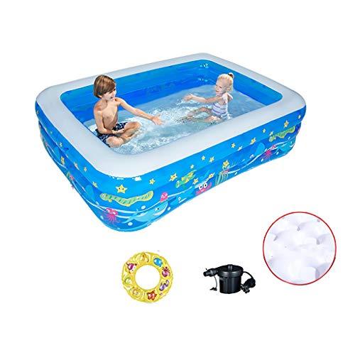 CQyg Blauer Rechteckiger Pool, PVC-Planschbecken, Großer Ozeanballpool, Kinderbaby Bubble Ball Pool Die Ganze Familie Aquarium Pool Mit Pumpe 2 Größen (größe : 210 * 150 * 60cm)