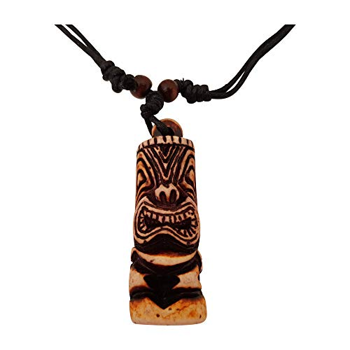 Fancychain Halskette Kette Tiki Mann Totem Luau Hula geschnitztes Surferkette TRIBAL Ornament Hawei Schmuck - Hawaii Männer Halskette Für