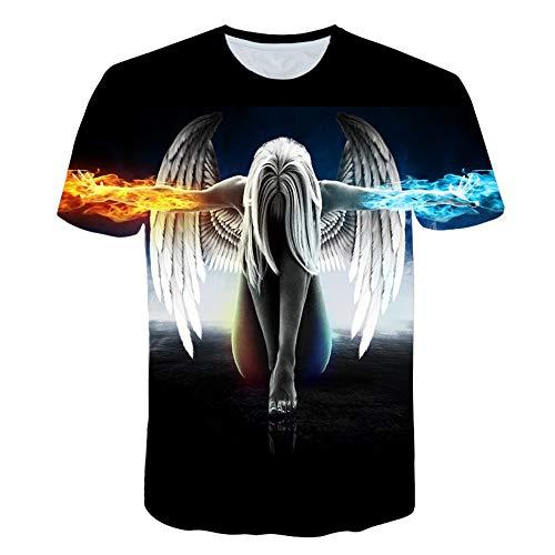 XIAOBAOZITXU T-Shirt Unisex-Paar Kostüm 3D Digitaldruck Engel Cool Lustig Lose Sportmode Größe T-Shirt L