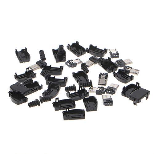 JOYKK 10 Sets 5 Pin, rechtwinklig, Micro-USB-Stecker, Stecker mit schwarzer Lötbuchse, schwarz