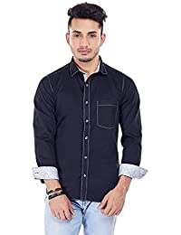 [Sponsored]Evoq Blue Satin Cotton Full Sleeved Casual Shirt With Contrasting Collar Band, Inner Button Placket And Cuff