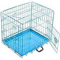 Dog Trust Single Door Folding Metal cage with Removable Tray and paw Protector for Dogs,Cats and Rabbits 18 Inch Sky…