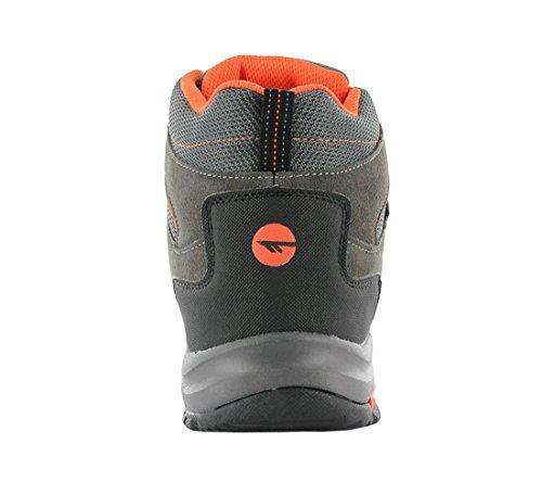 Hi-Tec Raposo Mid WP Waterproof Herren Schuhe Wanderschuhe Outdoor Leder Textil Wasserabweisend Stiefel Boots Grau (Grau-Orange)