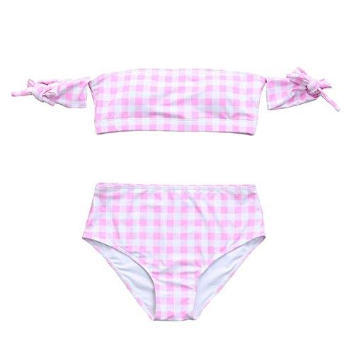 Donne Push Up Reggiseno Imbottito Bikini Skinny Plaid Stampato Divisa Costume Spiaggia Bikini Monokini Costume Da Beachwear Set Swimwear Spiaggia Estate Pezzi Fascia Vita Alta Pink