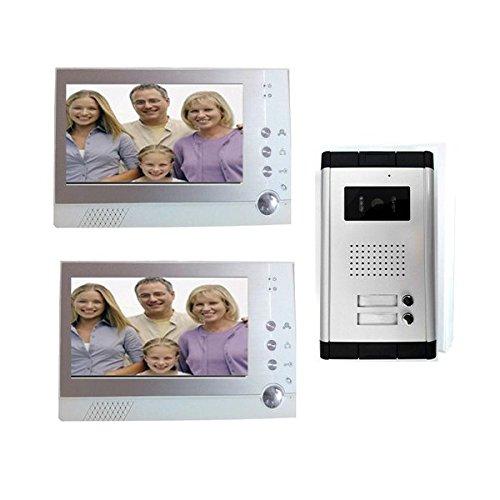 Videocitofono 2 monitor registra kit bifamiliare telecamera...