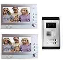 Videoportero 2Monitor Registra Kit bifamiliare cámara IR 7pulgadas Memory mws