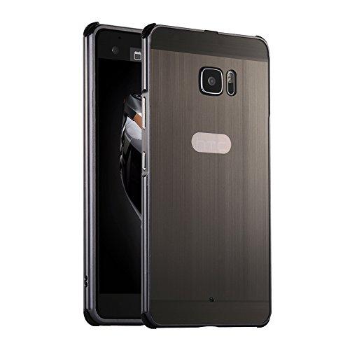 Huphant HTC U Ultra Hülle Metall Luxus 2 in 1 Aluminium Hülle [Brushed Metall Serie] Stoßfest Hülle Metall Schutzhülle Aluminium Hülle 2 in 1 Slim Case Hardcase für HTC U Ultra(5,7 Zoll) - Black