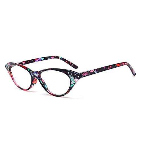Wiffe Mode Frauen Cat Eye PC Rahmen Lesebrillen Brillen Brillen + 1,0 + 4,0 (Grün, 2.00)