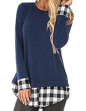 Yvelands Camisa de impresión a Cuadros para Mujer, Camiseta Casual de Mujer Camisa de Manga Larga para Mujer Blusa