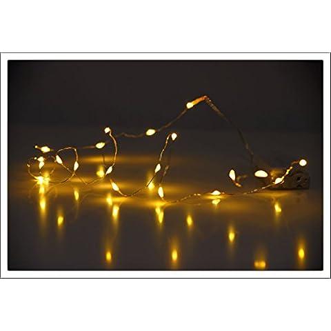 LED Micro Luz Cadena–40LED blanco cálido–Alambre guirnalda con batería