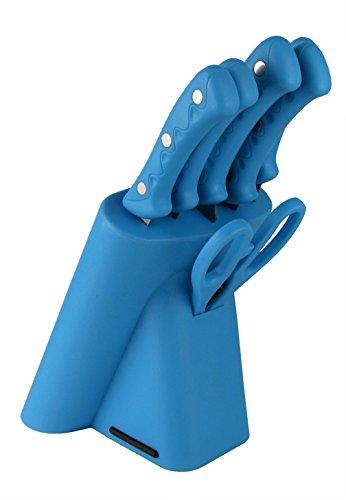 TSW GERMANY 7-teiliges Messerblock-Set/Messerset - bunt in verschiedenen Farben erhältlich (Blau)