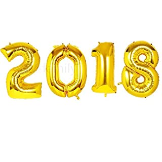 Shengchu 40 Inch 2018 Balloons Gold Number Foil Balloons for Graduation Decorations Christmas New Year and Any Wedding Birthday Party Supplies (40 inch 2018)