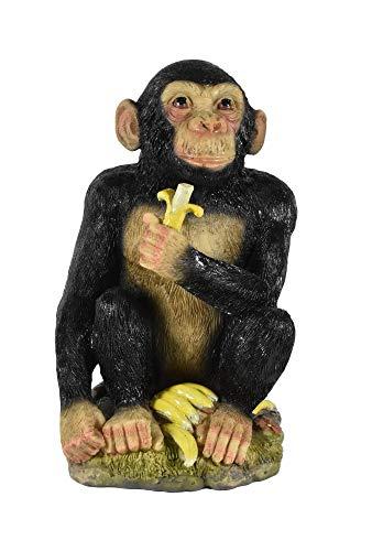 Klp Schimpanse AFFE mit Banane Deko Garten Afrika Tier Figur Skulptur Affen Statue