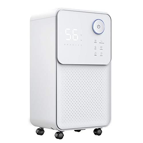 luko 12l silenzioso deumidificatore con blocco bambini, elettrico e portatile, 2l serbatoio con scarico, controllo dell'umidità, asciutti e purificare l'aria per casa, camera da letto, cantina, bagno