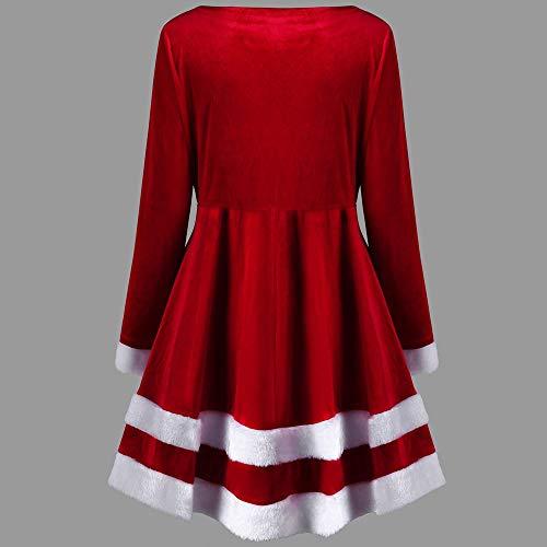 Hffan Damen SAMT Elegant Plüschkante Langarm Rundhals Hohe Taille Festliches Kleid Schön Weihnachtskleid A-Linie Kleid Modisch Kurzes Kleid Freizeit Casual Minikleid(Rot,S) - 2