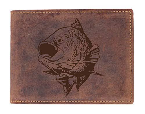 Greenburry Leder-Börse mit Fisch Motiv I Leder Geldbeutel mit Fisch Motiv I Portemonnaie iin Querformatbraun